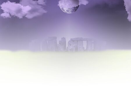 Surreal landscape. Stonehenge in clouds