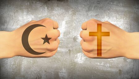 Vuisten met symbolen van christendom en islam