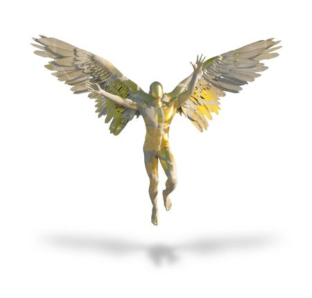 Winged faceless angel made of gold. 3D rendering Stock Photo