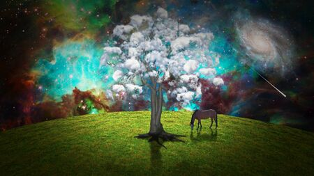 Surreal meadow. Horse and tree with clouds