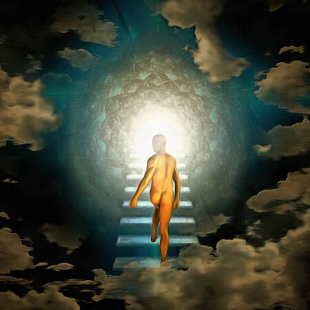 Surreal painting. Naked man walks to the light 写真素材