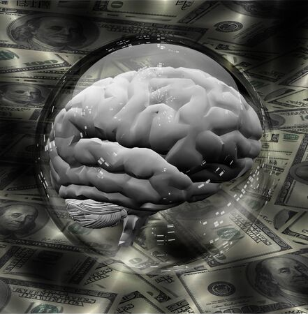 Human Brain contains in crystal ball with Currency Background Stock Photo