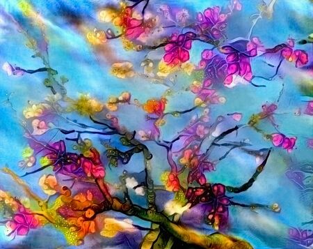 Abstract vivid painting with trees in bloom, watercolor Stok Fotoğraf