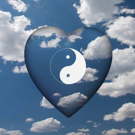 Yin Yang Heart in Clouds Stock Photo