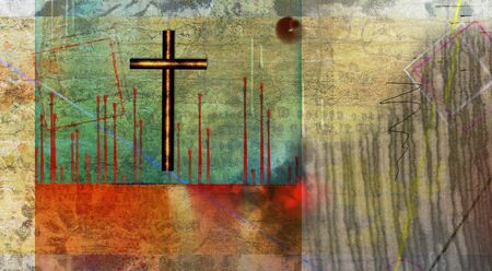 Abstract in muted colors with iron cross Stock Photo