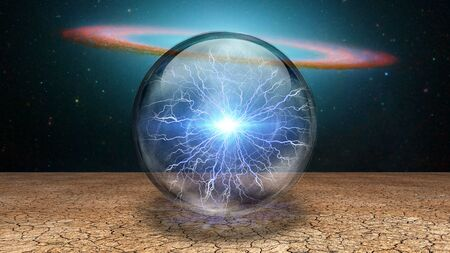 Surrealism. Splash of lightnings inside crystal ball. Galaxy disk on a background. Stock Photo