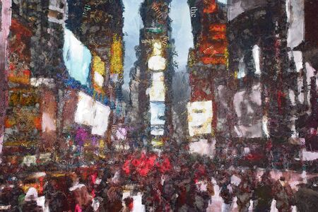 Abstract modern painting with words cloud. Times Square