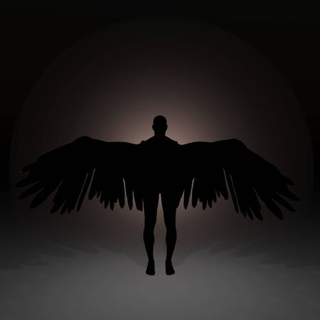 Dark shadow of winged angel