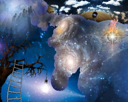 Surreal scene. Thoungts about Universe. Ladder to the tree with light bulb. Burning eye. 3D rendering
