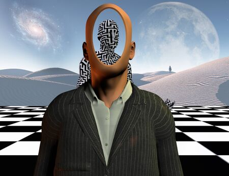 Surrealism. Faceless businessman stands on chessboard. Figure of a man covered by maze pattern. Lonely man in a distance. 3D rendering Stock Photo