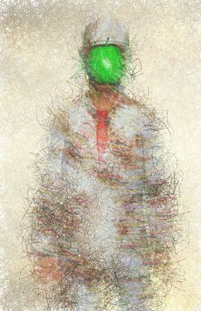 Abstractl digital art. Man in white corroded suit with green apple instead of face