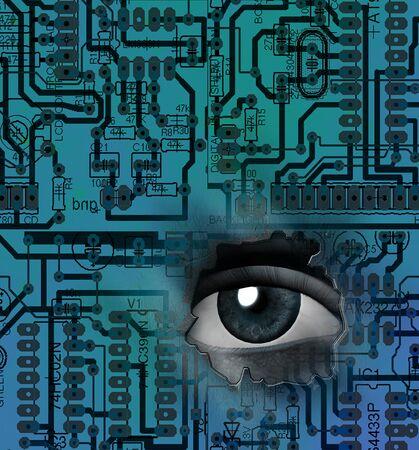 Tech Eye. Sci fi Art Banque d'images - 125135610