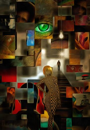 Complex surreal painting. Green eye, light bulb. Blonde girl with checkered pattern on her body. Lonely man on a road to bright light. Stock Photo