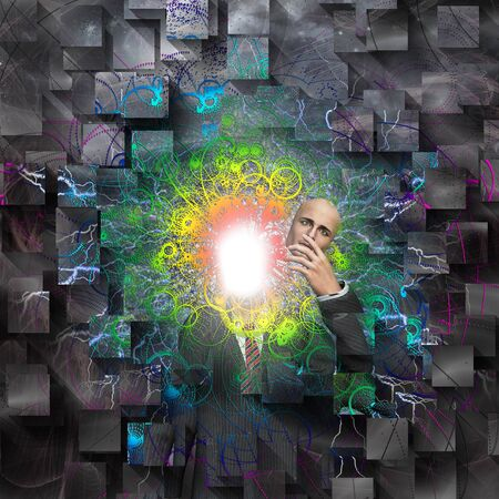 Surreal digital art. Powereful being reveals true self