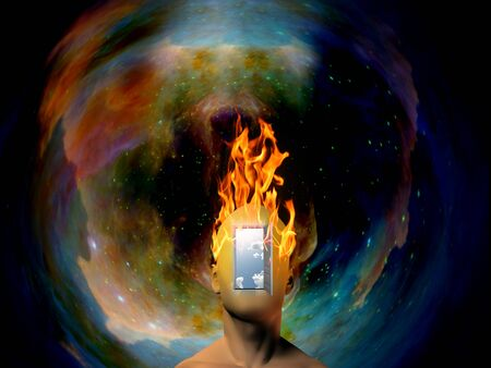 Cabeza humana ardiente con fondo espacial