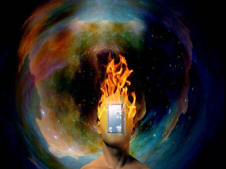 Testa umana in fiamme con sfondo spaziale