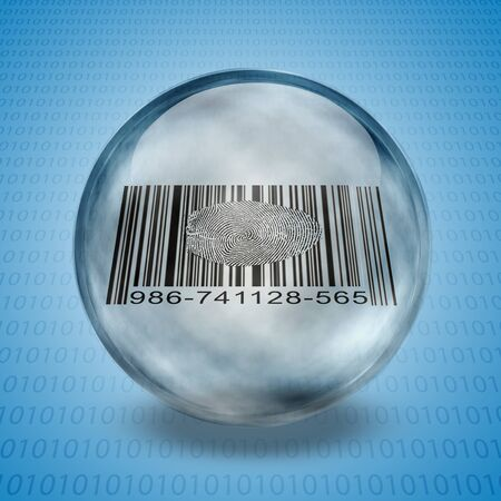 Barcode Fingerprint Enclosed in Glass Sphere