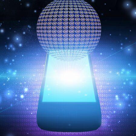 Modern digital art. AT symbol mobile phone