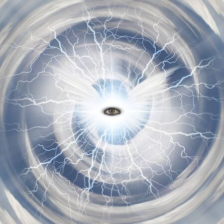 Spiritual composition. The Eye of God with bright white wings and lightnings