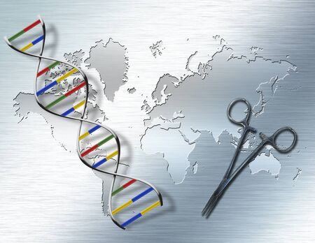 World Genetic. DNA strand and surgery tool Banque d'images