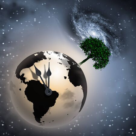 Symbolic environmental composition. Clock Ticking Earth. Green tree on a globe