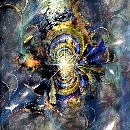 Abstract painted fractal. Space Angels 免版税图像