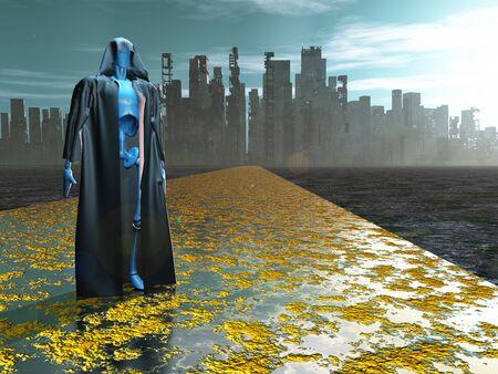 Sci fi art. Traveler before the destroyed city Foto de archivo