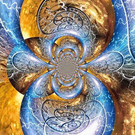 Abstrakte Malerei Farbtextur. Moderne dynamische Fraktale repräsentieren Kontinuum. Zeitspiralen. Artwork für kreatives Grafikdesign