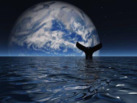 Sci fi digital art. Whale in exoplanet ocean