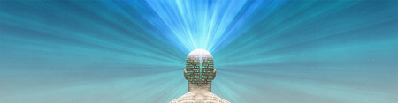 The Power of Mind. Man radiates light from head
