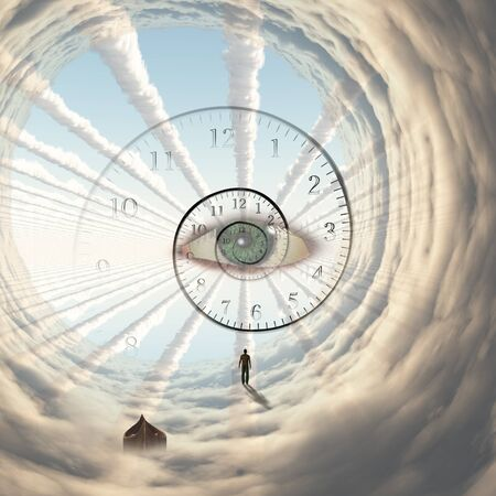 Figure of man in cloud's tunnel. God's eye and spiral of time