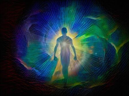 Abstraktes Gemälde. Die Silhouette des Mannes in Lichtstrahlen. Aura oder Seele Standard-Bild