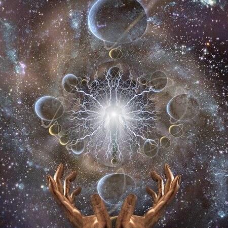 Space spirit. Being of light in deep space. Fractal of planets and hands of Creator