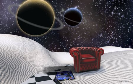 Artist's mind. Surreal white desert. Red armchair and painting. Planets in starry sky 版權商用圖片