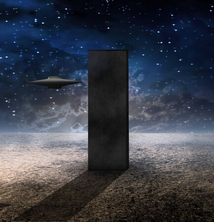 Sci Fi Art. Alien Craft Approaches Monolith
