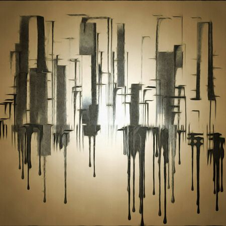 Abstract painting. City shapes drips down