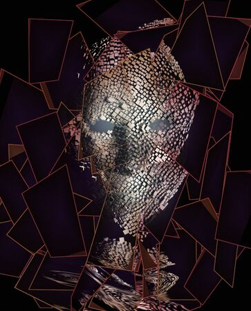 Modern art. Dark Face in geometric pieces