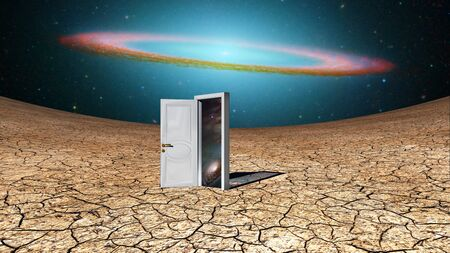 Surrealism. Door - portal to another dimension Stock Photo