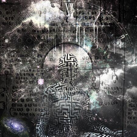 Pittura astratta. Figura dell'uomo nella posa del loto. Testo antico e simboli sullo sfondo. Rendering 3D