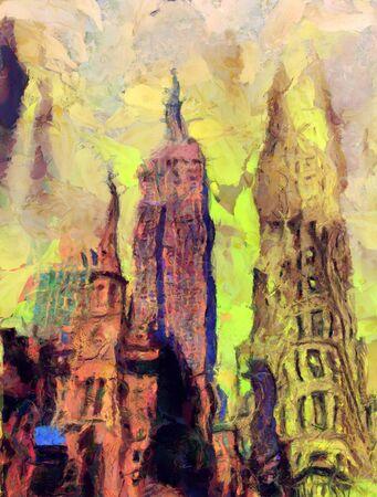 Church on a street of New York. Manhattan. Digital painting Stock Photo - 126427689