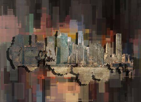 New York, Manhattan. Modern geometric abstract background
