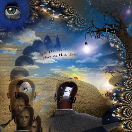 Mens heads with puzzles and questions. Door to another world. Endless parallel worlds Stock Photo