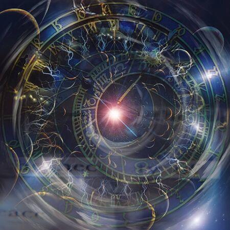 Reloj del zodíaco antiguo y estrella brillante. Ruedas del tiempo