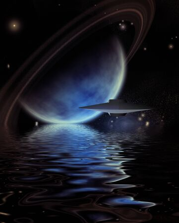 Alien Crafts over Exoplanet Sea