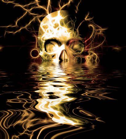 Skull Reflection. Digital dark art