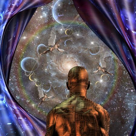 Surreal digital art. Man with electric circuit pattern on his skin stands before nebula in deep space. Men with wings represents angels. 3D rendering