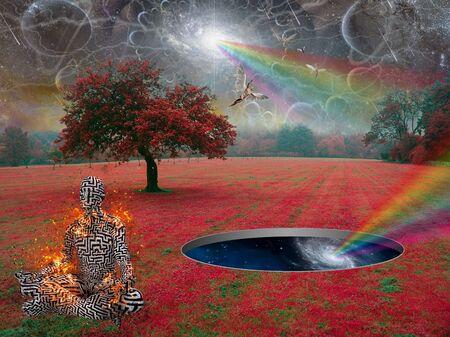 Spiritual composition. Deep Zen. Man meditates in lotus pose in surreal landscape. Angels soars in the sky Stock fotó