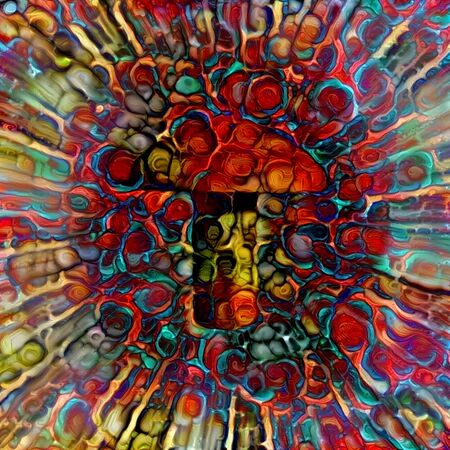 Colorful Mushroom. Abstract painting in vivid colors Stock fotó