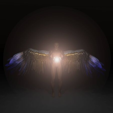 Angel being holding divine energy