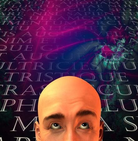 Mans head with text in old latin Stock Photo